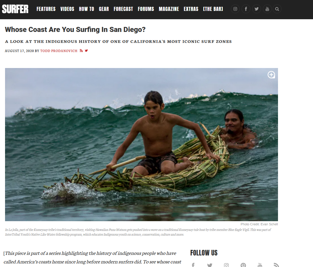 Screen shot of article on Surfer.com